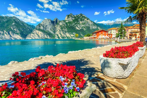 High mountains and walkway on the shore,Lake Garda,Italy,Europe shutterstock_262804817-2