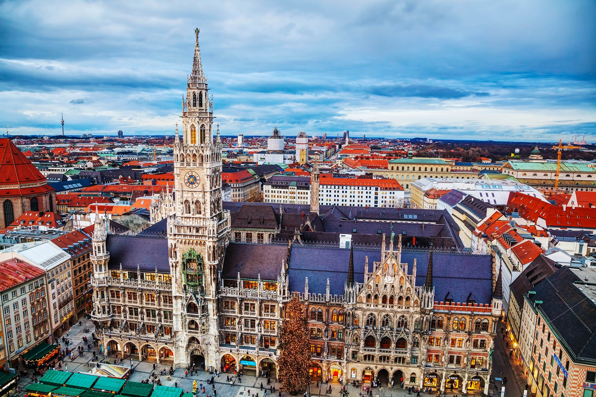 Munich, Germany - November 30, 2015: Aerial view of Marienplatz with people. It's the 3rd largest city in Germany, after Berlin and Hamburg, with a population of around 1.5 million.