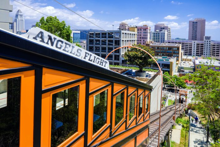 """Angels Flight funicular at Bunker Hill in Los Angeles, CA"""