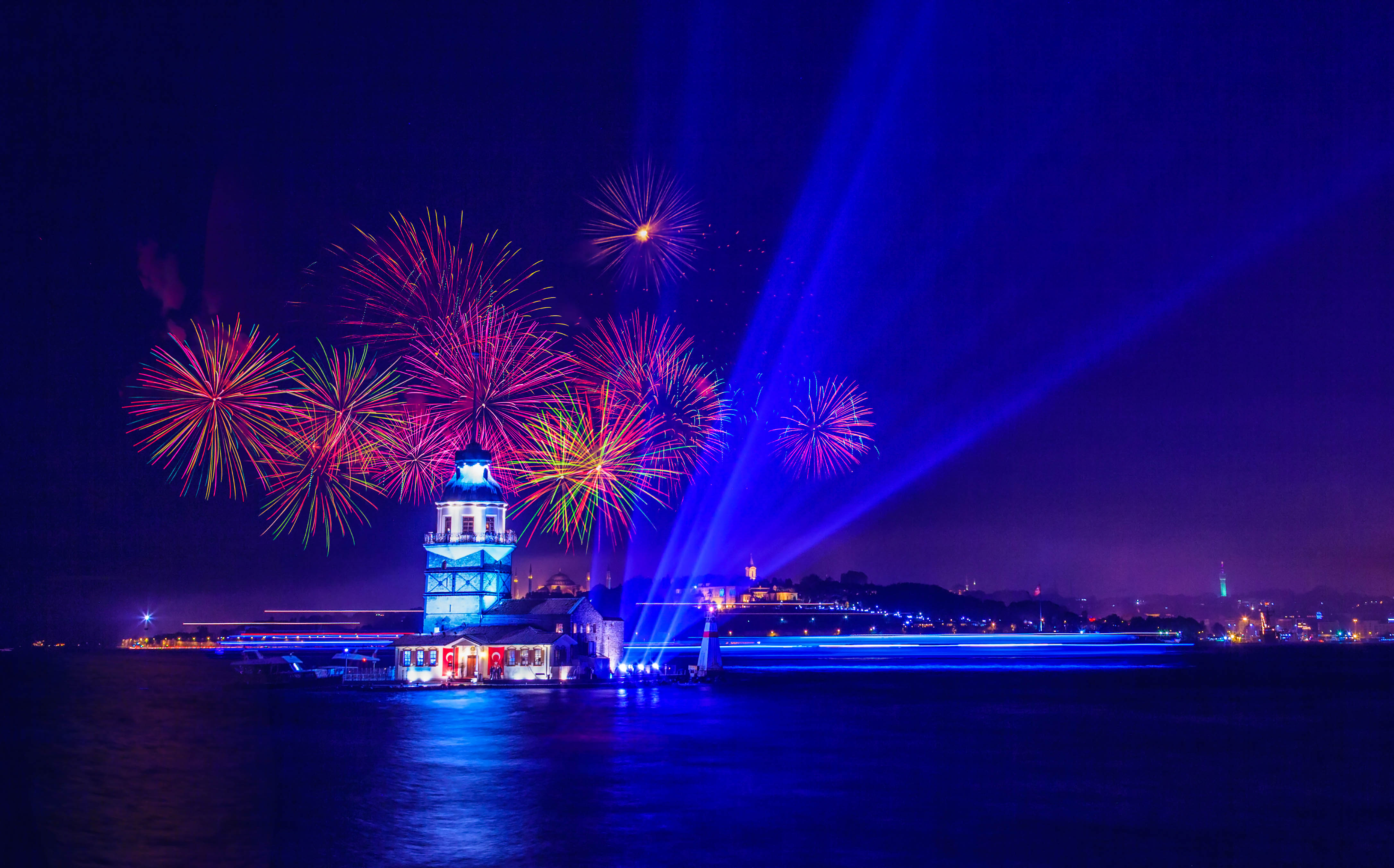 Indipendent day celebration with colorful firework display and laser light show over Bosphorus, Istanbul.