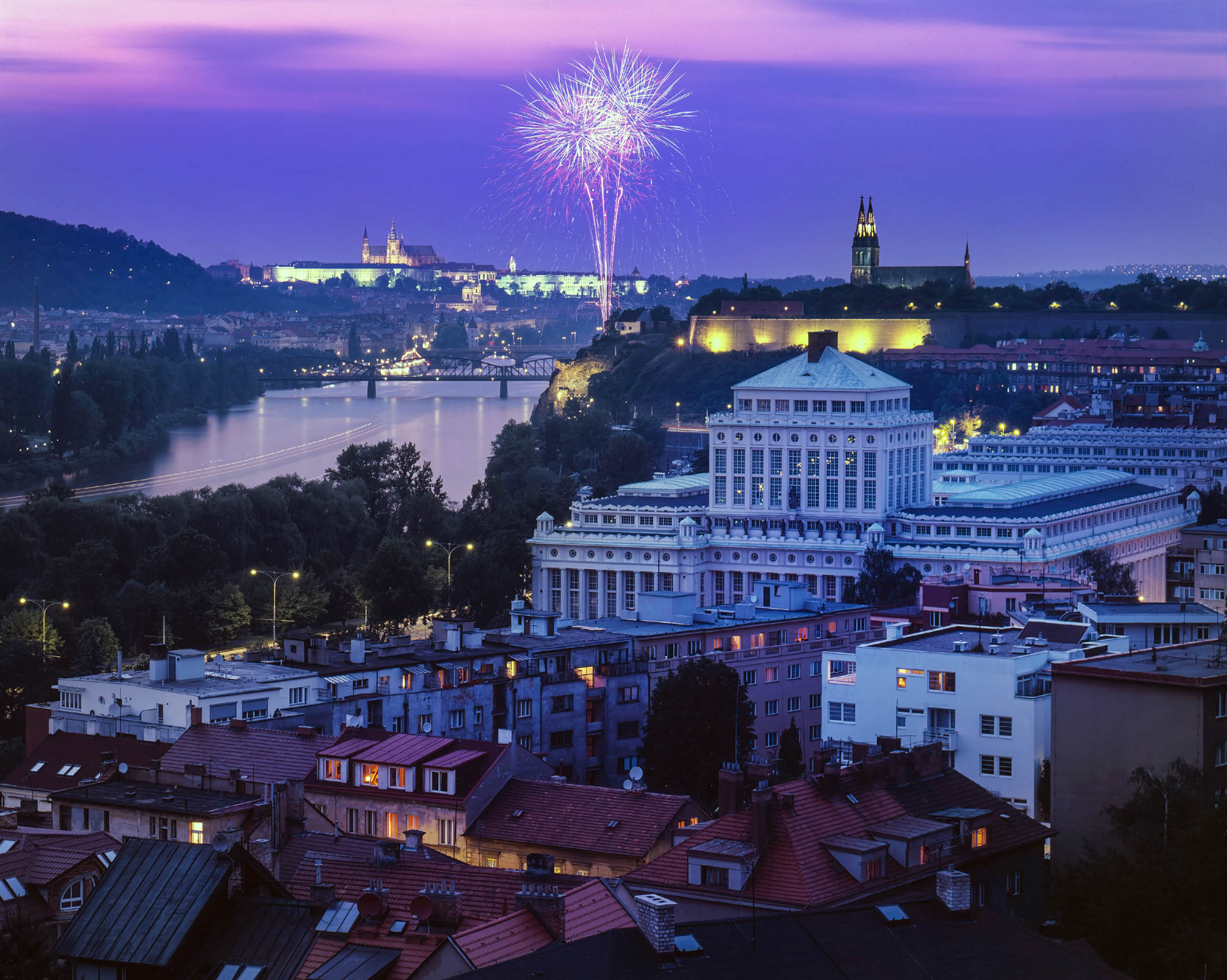 nice view on fireworks at Prague capital of Czech republic
