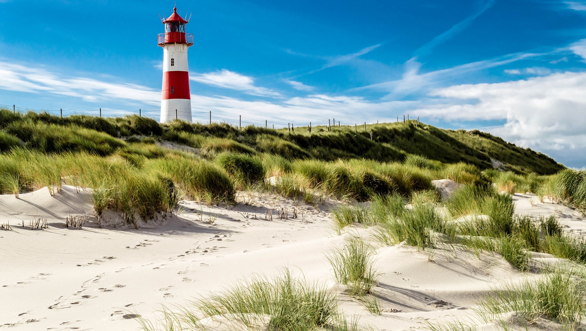 One of two lighthouses in the north of the island Sylt - Germany. Near by the city List. You can see the danish coast from this lighthouse. Copy space in the background.