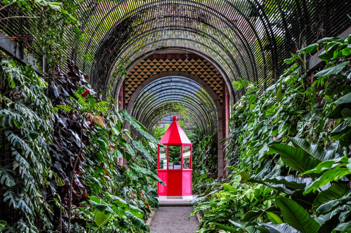 Red booth in botanical garden