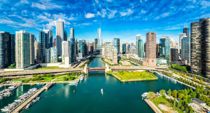 City of Chicago Skyline aerial view