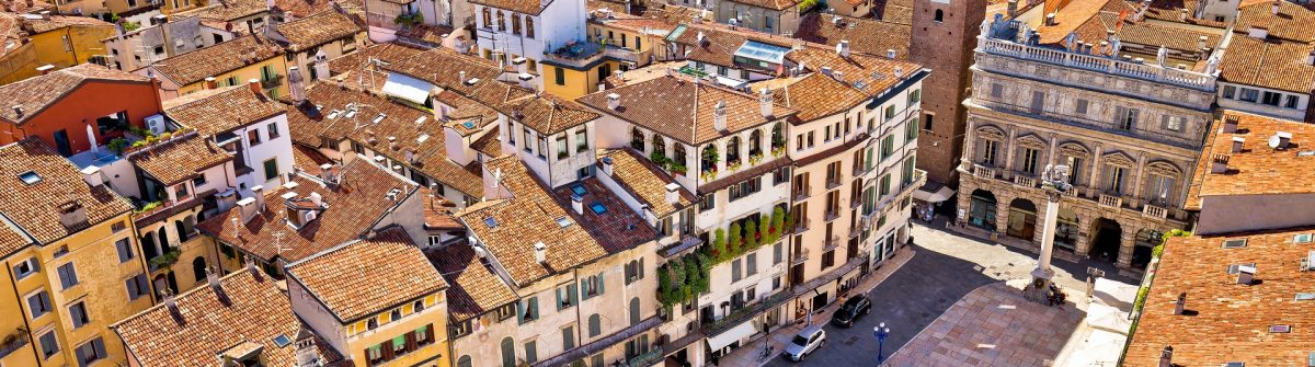 City of Verona aerial view from Lamberti tower, rooftops of old town, Veneto region of Italy shutterstock_652311370