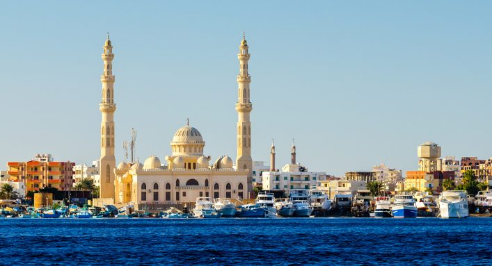 View from the sea to Hurghada. Egypt