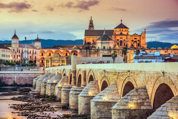 Cordoba, Spain at the Roman Bridge and Mosque-Cathedral