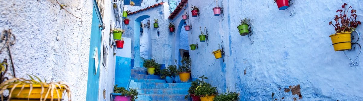 Blue street scene of Chefchaouen, Morocco
