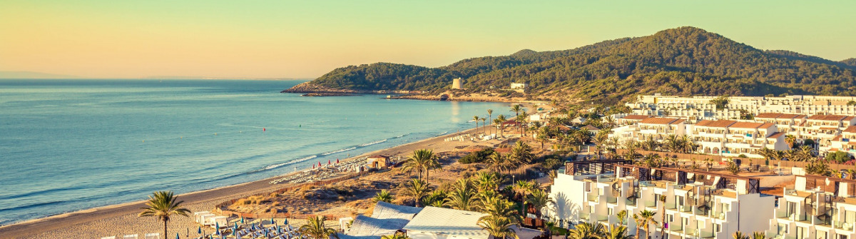 Ibiza Eivissa, sunrise over  Playa d'en Bossa Beach
