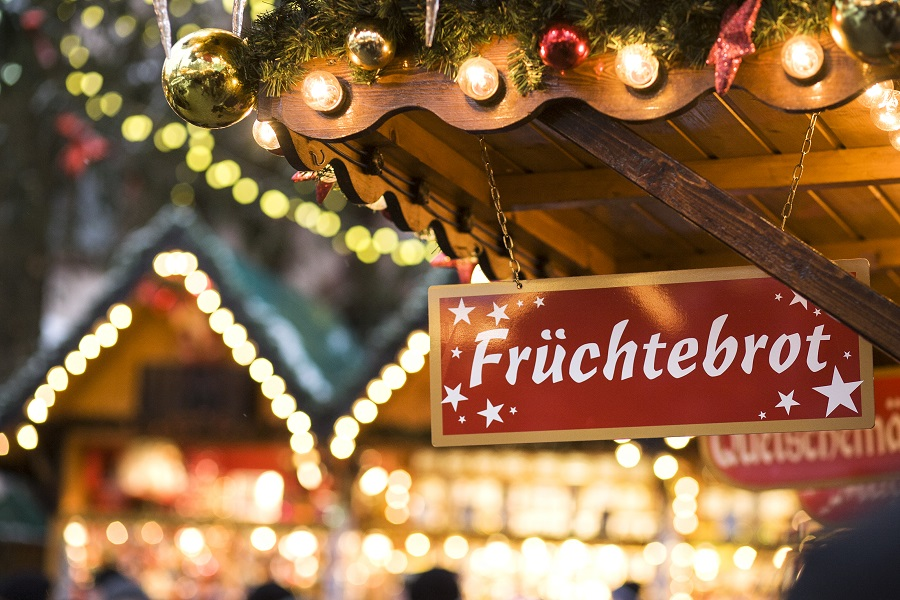 Sign at christmas market