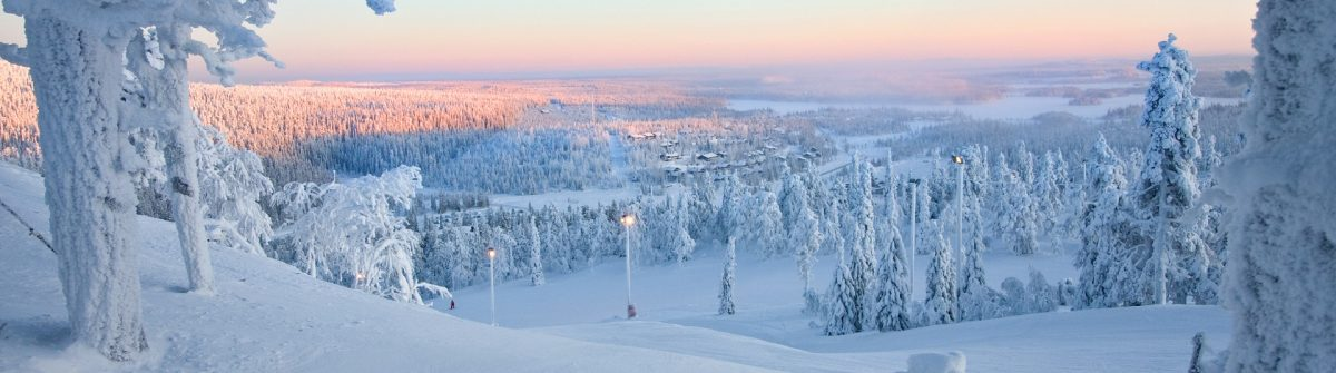 Frosty sunset at the frozen forest of Santa Claus