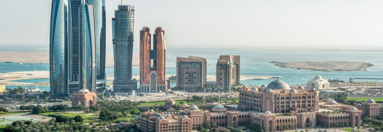Sea and skyscrapers in Abu Dhabi