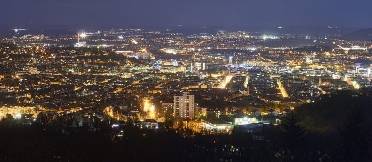 Panoramic view of Stuttgart at night