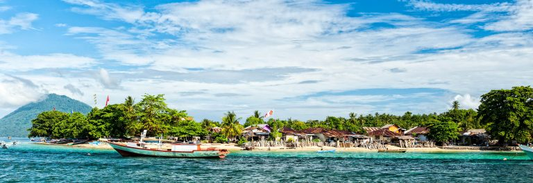 Bunaken indonesian fisherman village in Sulawesi Island