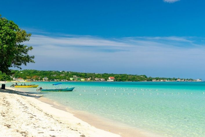 Sunny-day-along-the-Seven-Mile-Beach-in-tropical-Negril-Jamaica.-Tour-boats-await-passengers-and-caucasian-tourists-in-the-water-at-a-distance.-Bshutterstock_1161489259-1