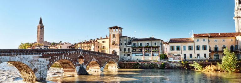 The bridge Ponte Pietra In Verona, Italy