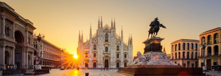 Duomo at sunrise, Milan, Europe.