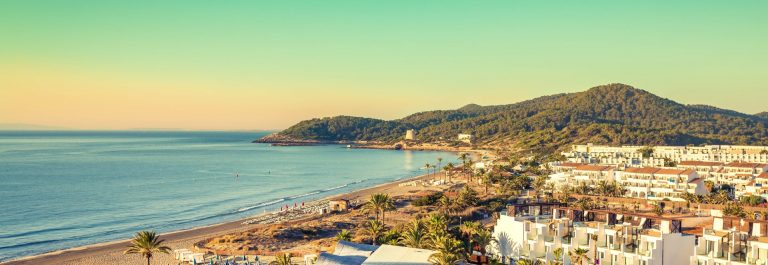 Ibiza Eivissa, sunrise over  Playa d'en Bossa Beach ,Spain