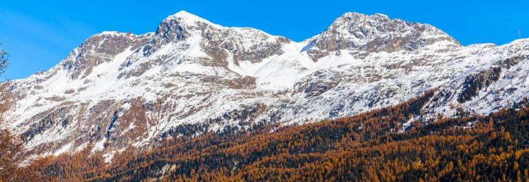 Panorama-view-of-the-golden-autumn-in-Upper-Engadin-with-Piz-Corvatsch-of-the-swiss-alps-and-colorful-trees-and-town-of-Sils-Maria_shutterstock_354672071