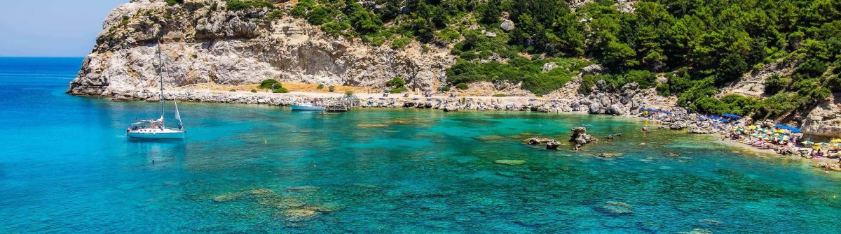 View of Ladiko Anthony Quinn Bay. Rhodes, Dodecanese Islands, Greece, Europe