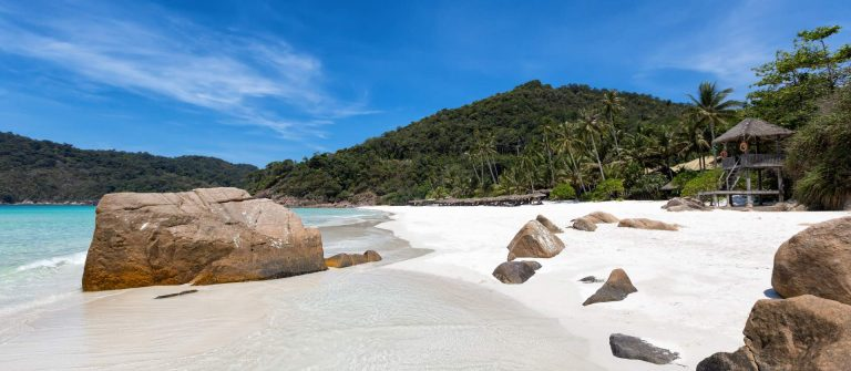 Boulders on tropical beach in Malaysia, Pulau