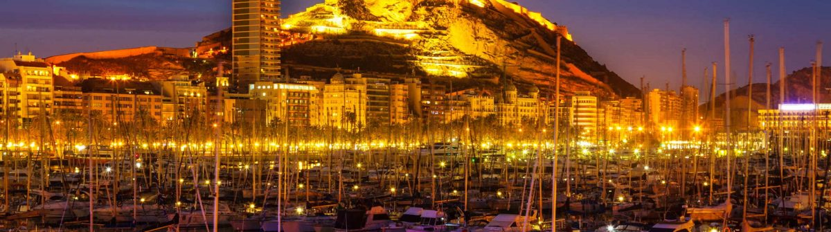 Port of Alicante in night. Spain