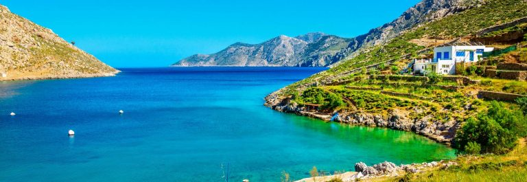 Amazing sea bay on Greek Island  with clear water